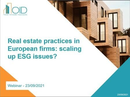 Webinar - 23/09/21 - Real estate practices in European firms: scaling up ESG issues?