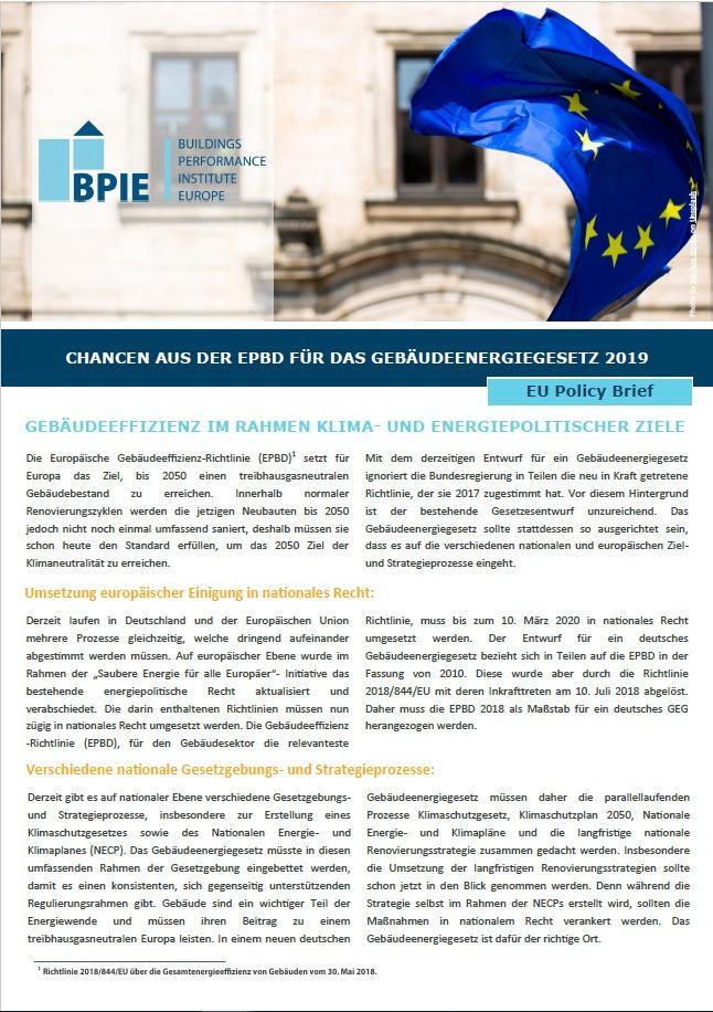 Neuer Policy Brief: Chancen aus der EPBD für das Gebäudeenergiegesetz 2019