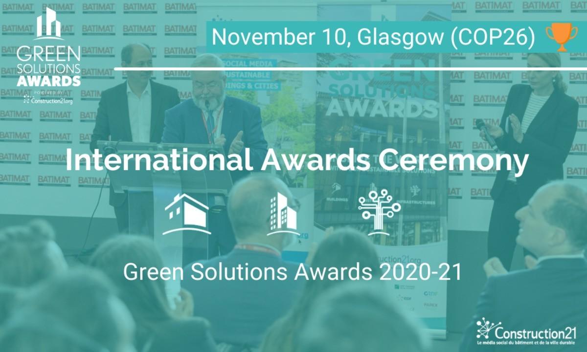 10. November - Die internationale Preisverleihung der Green Solutions Awards 2020-21 in Glasgow
