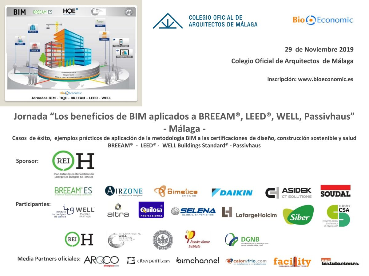 "Cartel Jornada ""Los beneficios de BIM, BREEAM®, LEED®, WELL y Passivhaus"" Málaga"