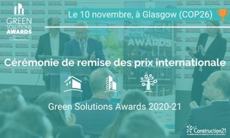 [Invitation] Cérémonie internationale de remise des prix Green Solutions Awards le 10/11 à Glasgow, COP26