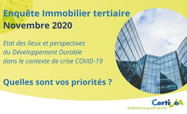[Enquête Immobilier tertiaire par Certivéa Novembre 2020] Etat des lieux et perspectives du Développement Durable dans le contexte de crise COVID-19