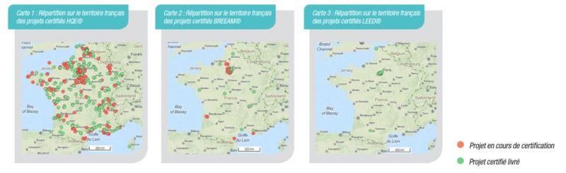 Répartition géographique des projets certifiés HQE, BREEAM et LEED en France au 31 décembre 2014