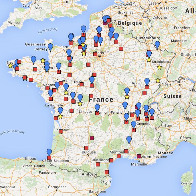 Carte des plateaux au 31 mars 2016