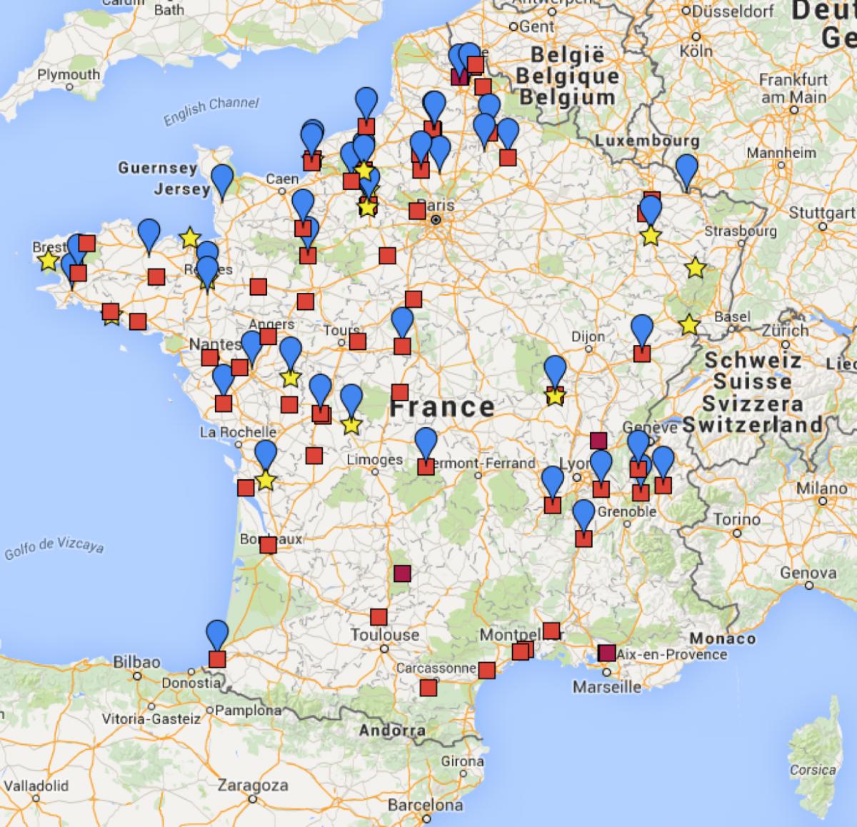 Carte des plateaux au 31 décembre 2015