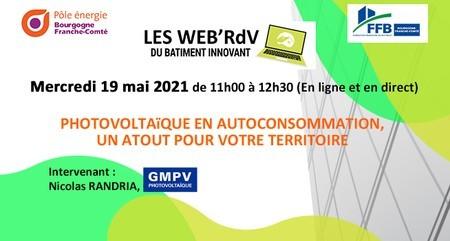 [Webinar] Web'RDV du bâtiment innovant : Photovoltaïque en autoconsommation, un atout pour votre territoire !