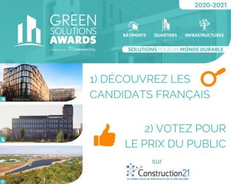 Plus de 100 candidats français aux Green Solutions Awards 2020-21 : découvrez-les et votez !
