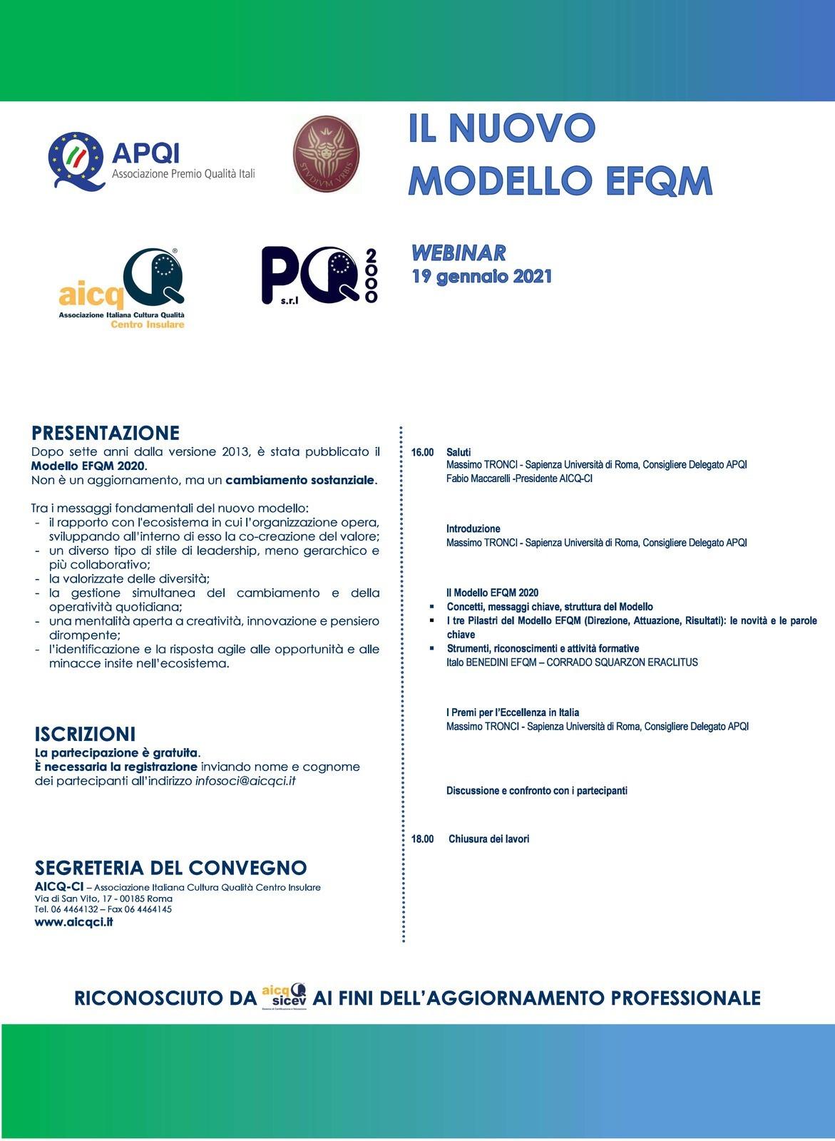 Presentazione del nuovo Modello EFQM 2020