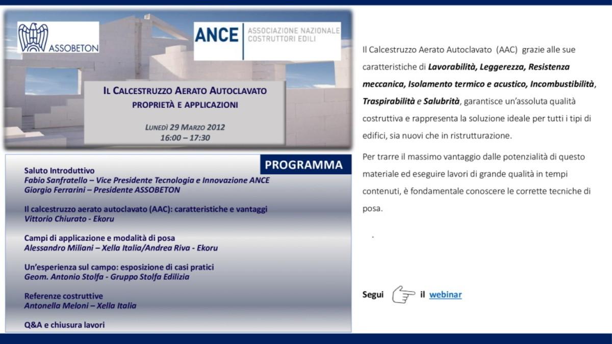 Webinar 29 marzo: proprietà e applicazioni del calcestruzzo aerato autoclavato